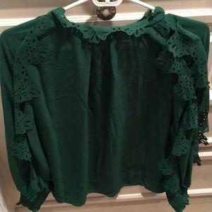 bd09e1a703d89 SHEIN Tops - NWOT Women s Green Silk-like Blouse  Size XS